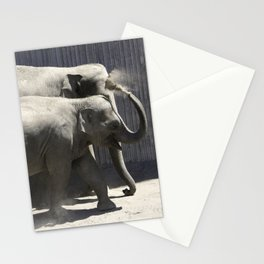 Mother and Baby Dusting off Stationery Cards