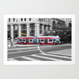 San Francisco Trolley Bus - BW background Art Print
