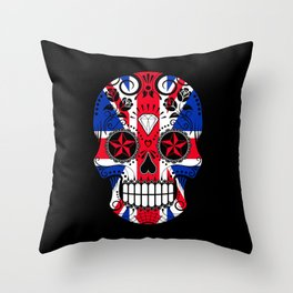 Sugar Skull with Roses and the Union Jack Flag Throw Pillow