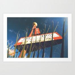free movies ! Las Vegas vintage Neon Motel sign clock Art Print