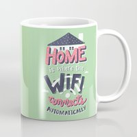 risa rodil Mugs featuring Home Wifi by Risa Rodil