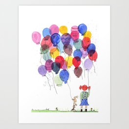 girl with balloons whimsical watercolor illustration Art Print