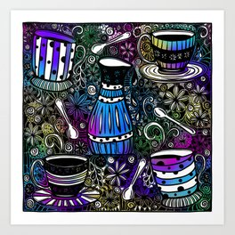 Coffee and Tea Time with flowers, swirls & rainbow background Art Print