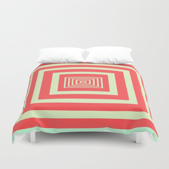 Coral and Light Blue Duvet Cover
