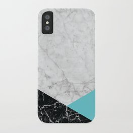White Marble - Black Granite & Teal #871 iPhone Case