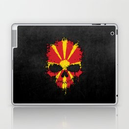 Flag of Macedonia on a Chaotic Splatter Skull Laptop & iPad Skin