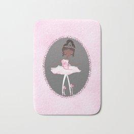 Pink & Grey Brown Ballerina Dancer Bath Mat