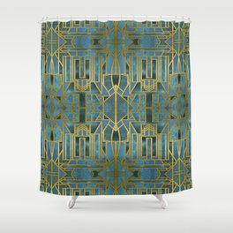 Elegant Retro Art Deco Pattern With Marble Elements Shower Curtain