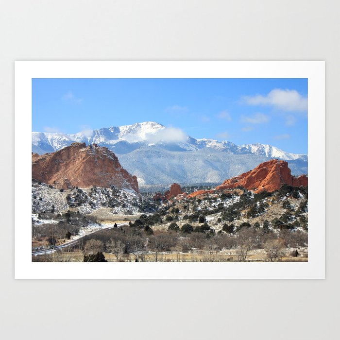 Snow At The Garden Of The Gods Colorado Springs Art Print By Trinitybennett