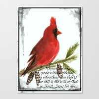 scripture Canvas Prints featuring Cardinal with Scripture  by Melanie Dorsey Designs
