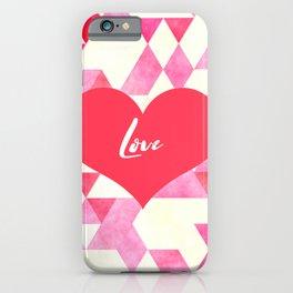 Valentine's Diamond Pattern with Love Heart iPhone Case