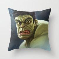 hulk Throw Pillows featuring Hulk by Jeff Delgado