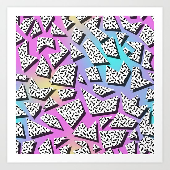Pattern in memphis style with geometric shapes Art Print
