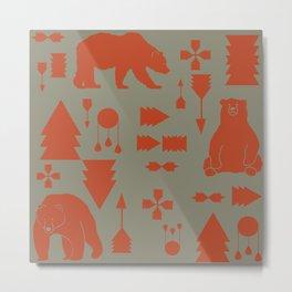 Tribal Bear orange Metal Print