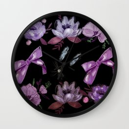 water floral in black Wall Clock
