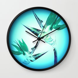 Unicorn Bird of Paradise 1980's Retro Floral Wall Clock