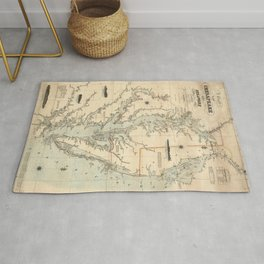 1862 Vintage Chart of the Chesapeake And Delaware Bays Rug
