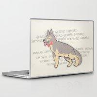 german shepherd Laptop & iPad Skins featuring The German Shepherd by TangerineCafé
