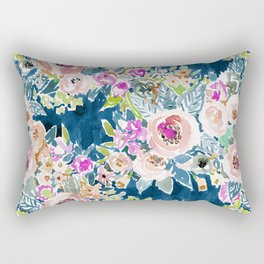 NAVY SO LUSCIOUS Colorful Watercolor Floral Rectangular Pillow