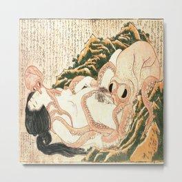 Katsushika Hokusai's Dream of the Fisherman's Wife. Metal Print