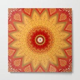 Bright Gold Orange Mandala Metal Print