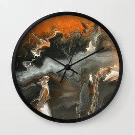 Orange Lightning Wall Clock