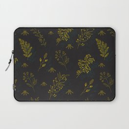 Thin delicate lines silhouettes of different plants. Laptop Sleeve