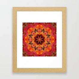 Glowing autumn Juneberry leaves kaleidoscope mandala Framed Art Print