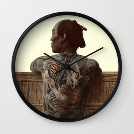 Kusakabe Kimbei - Japanese Tattoo - Original old vintage retro Photography from Japan -  Photo of Sa Wall Clock