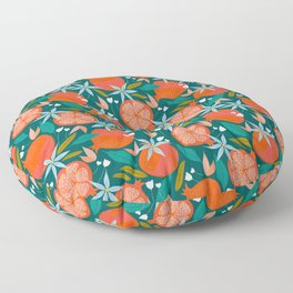 Summer Pomegranate, Tropical Fruit Illustration, Colorful Eclectic Bohemian Juicy Summer Botanical Floor Pillow