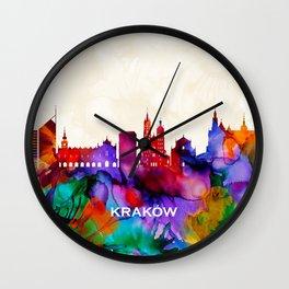 Krakow Skyline Wall Clock