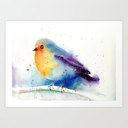 Cute Robin In Snow - Winter Art Bird Watercolor Art Print