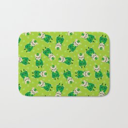 Cute French Bulldog is Feeling Lucky on St. Patrick's Day Bath Mat