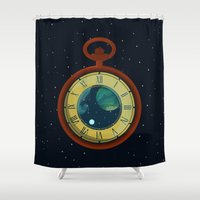 watch Shower Curtains featuring Cosmic Pocket Watch by badOdds