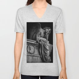 Giulio Monteverde and the Angel of the Night in Campo Verano black and white photograph / art photography Unisex V-Neck