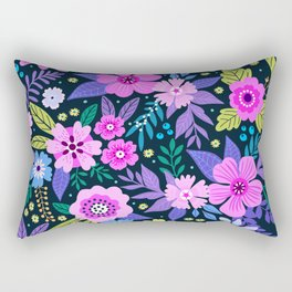 Amazing floral pattern with bright colorful flowers. Dark blue background. Rectangular Pillow