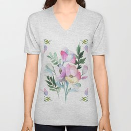 Flower pattern: watercolor Unisex V-Neck