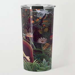 The Dream by Henri Rousseau 1910 // Jungle Lion Flowers Native Female Laying Colorful Landscape Travel Mug