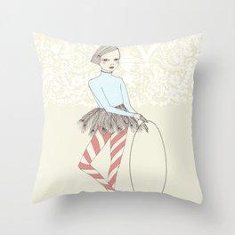 Harlequin Girl Throw Pillow