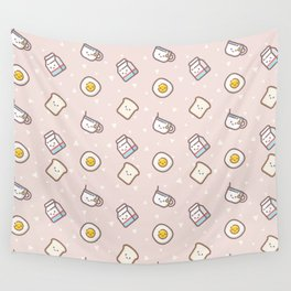 Cute blush pink pastel color funny milk food pattern Wall Tapestry