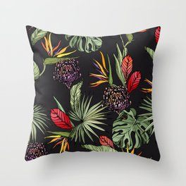 Tropical pattern on black Throw Pillow