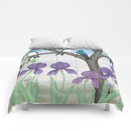 tree swallows & irises Comforters