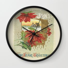 Vintage New Years Greetings Wall Clock