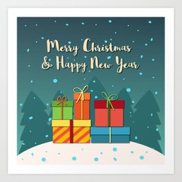 Merry Christmas and Happy New Year Art Print