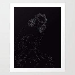 Lineart Kitty Kallen Art Print