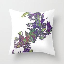 Straight razor with vines Throw Pillow
