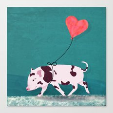 Baby Pig With Heart Balloon Canvas Print