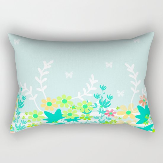 Turquoise floral pattern . Colorful floral background . Rectangular Pillow