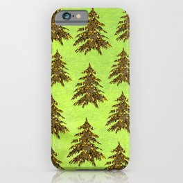 Sparkly Gold Christmas tree on abstract green paper iPhone Case