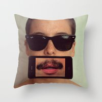 mustache Throw Pillows featuring mustache~ by Michal